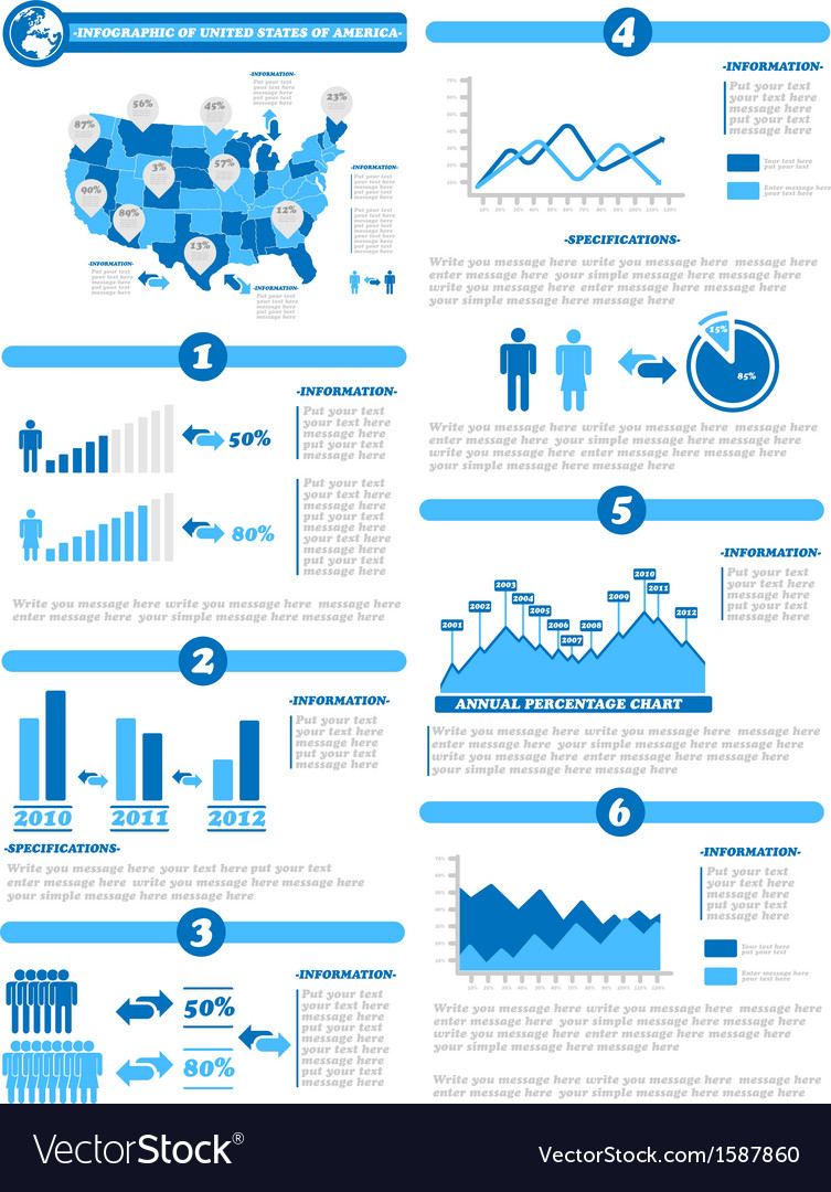Infographic demographics of states of america blue vector | Price: 1 Credit (USD $1)