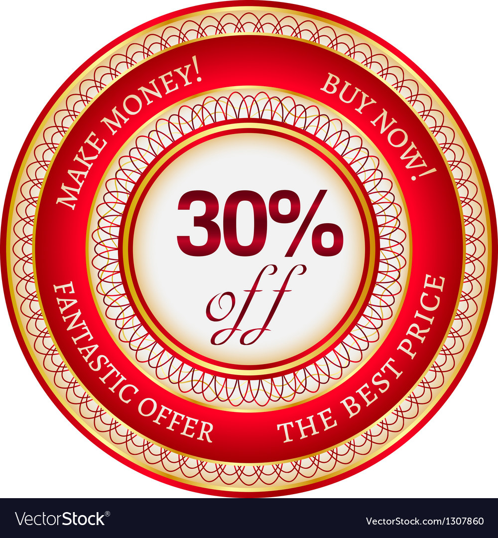Label on 30 percent discount vector | Price: 1 Credit (USD $1)