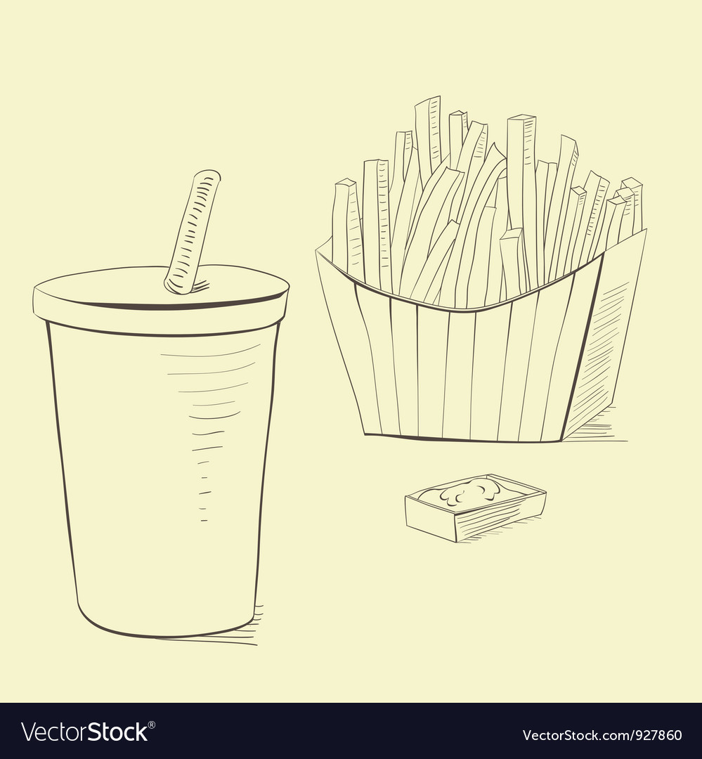 Soda drink with french fries vector | Price: 1 Credit (USD $1)