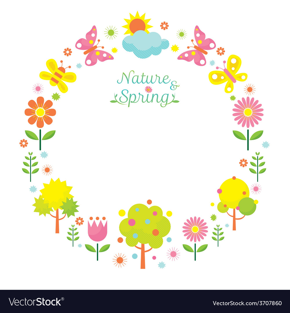Spring season object icons wreath vector | Price: 1 Credit (USD $1)