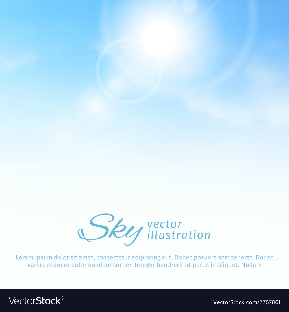 Bright summer sun and clouds sky background vector | Price: 1 Credit (USD $1)