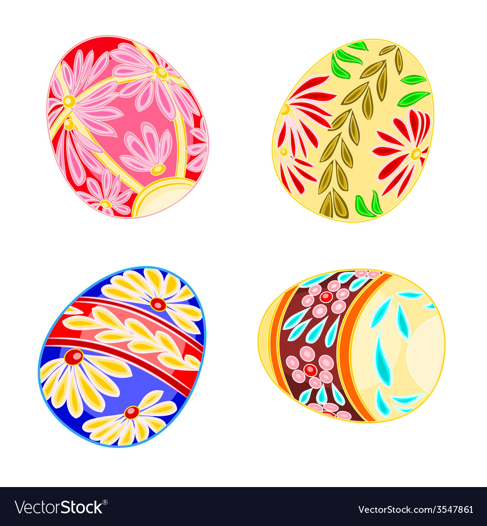 Decorated easter eggs set floral pattern vector | Price: 1 Credit (USD $1)