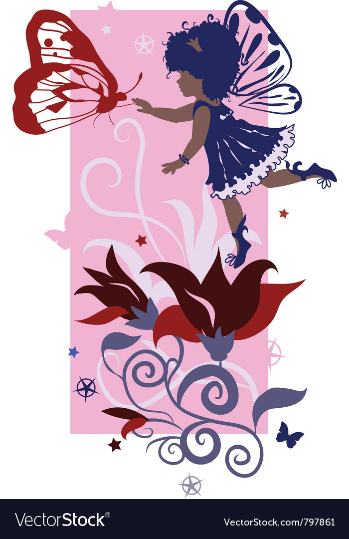 Fairy little girl silhouette vector | Price: 1 Credit (USD $1)