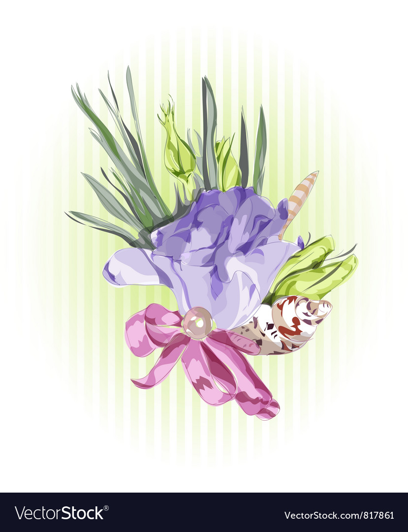 Floral decor with eustoma vector | Price: 1 Credit (USD $1)