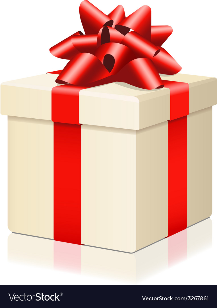 Gift box with red ribbon isolated on white vector | Price: 1 Credit (USD $1)