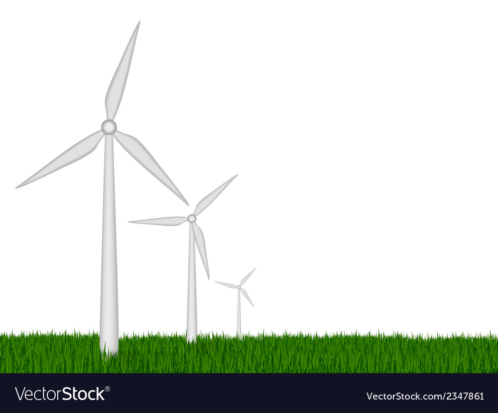 Green energy wind turbines vector | Price: 1 Credit (USD $1)