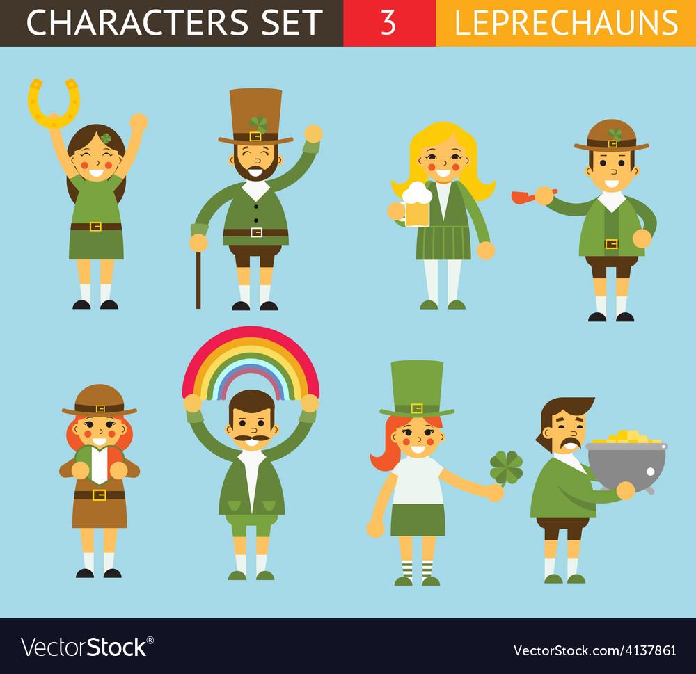Leprechauns ggnomes characters set celebration st vector   Price: 1 Credit (USD $1)