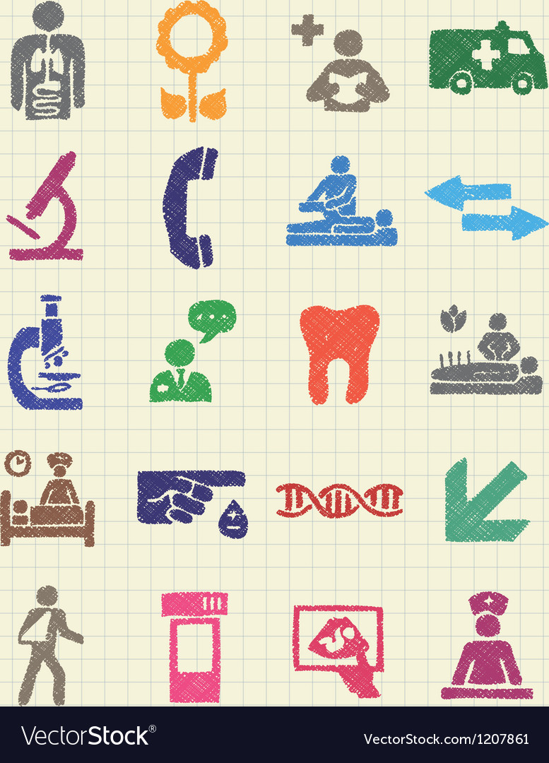 Medical web icons set drawn by color pencils vector | Price: 1 Credit (USD $1)