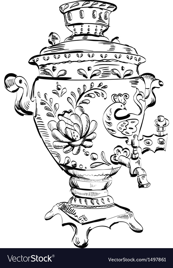 Russian samovar  sketch tea vector | Price: 1 Credit (USD $1)