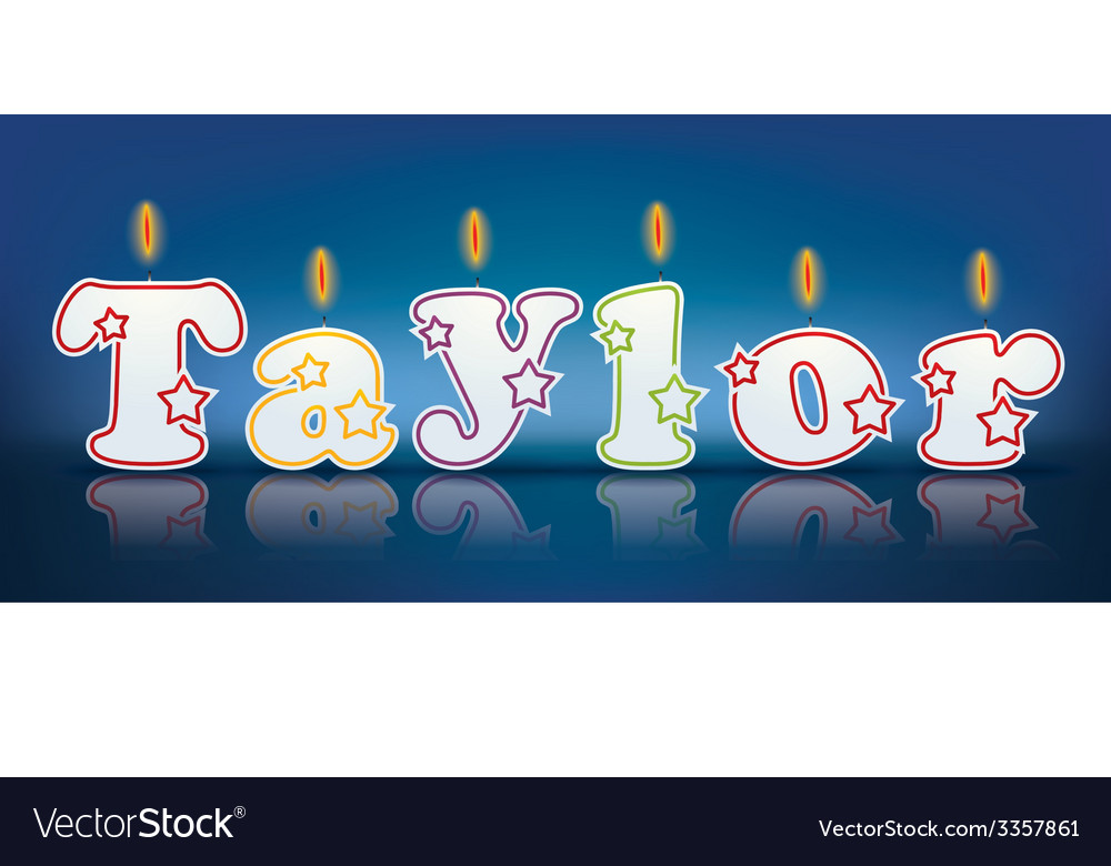 Taylor written with burning candles vector | Price: 1 Credit (USD $1)