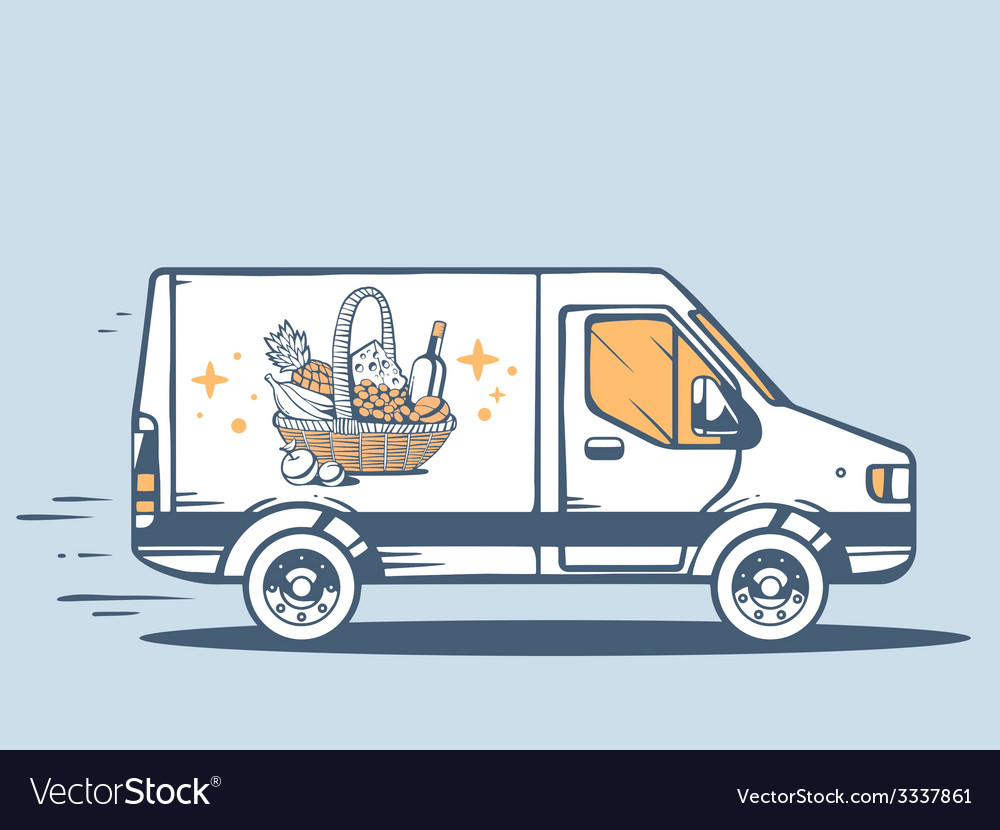 Van free and fast delivering basket with vector | Price: 1 Credit (USD $1)
