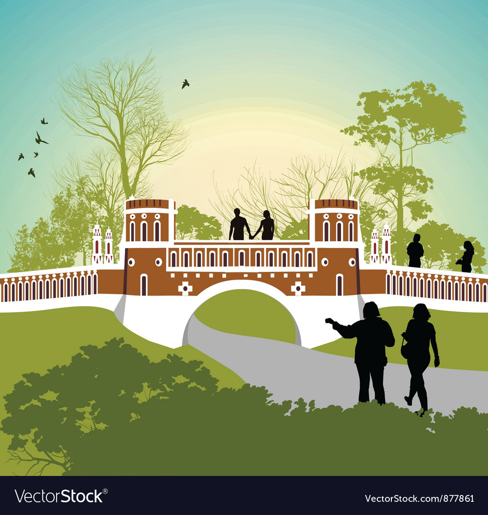Women walk in the park vector | Price: 3 Credit (USD $3)