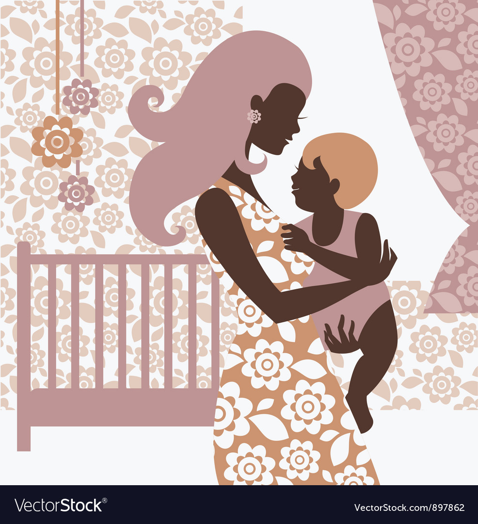 Beautiful mother silhouette with baby vector | Price: 1 Credit (USD $1)