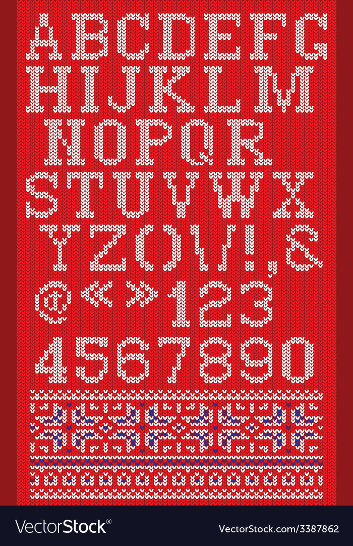 Christmas knitted font in scandinavian style on vector | Price: 1 Credit (USD $1)
