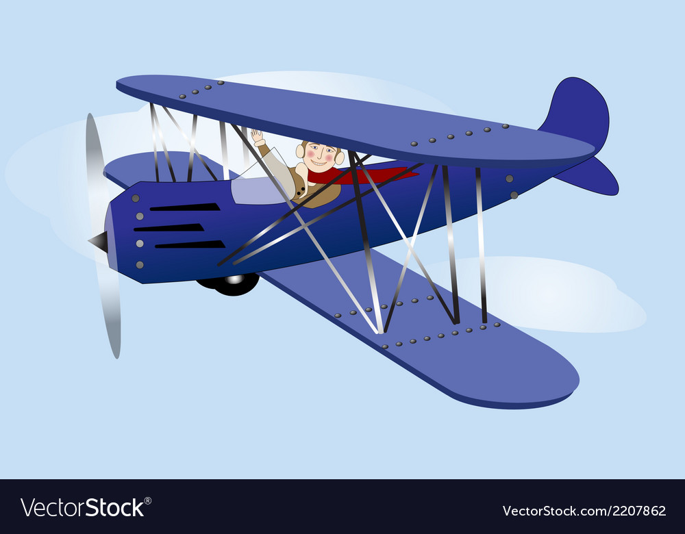 Flying vintage airplane vector | Price: 1 Credit (USD $1)