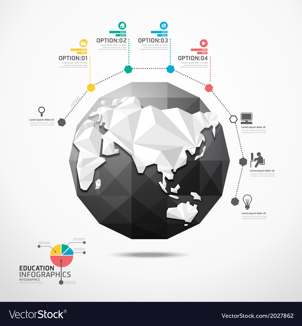 Globe world map infographics geometric concept vector | Price: 1 Credit (USD $1)