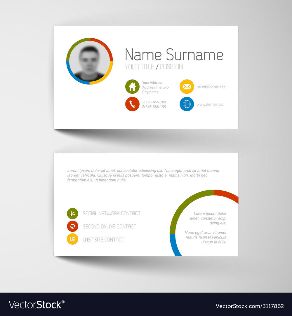 Modern business card template with flat user vector   Price: 1 Credit (USD $1)