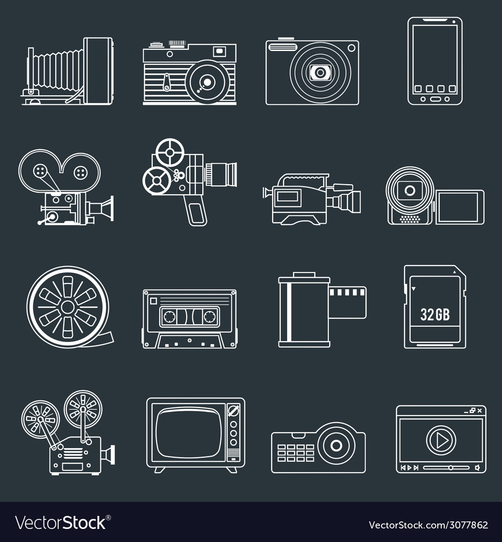 Photo video icons set outline vector | Price: 1 Credit (USD $1)