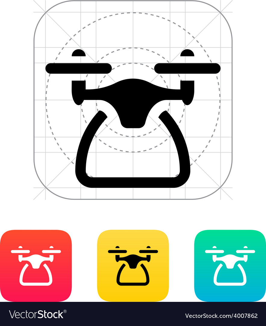 Quadcopter side view icon vector | Price: 1 Credit (USD $1)