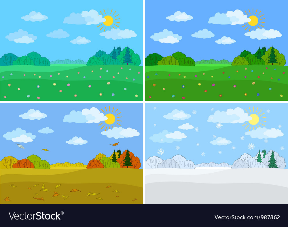 Set forest landscapes seasons vector | Price: 1 Credit (USD $1)
