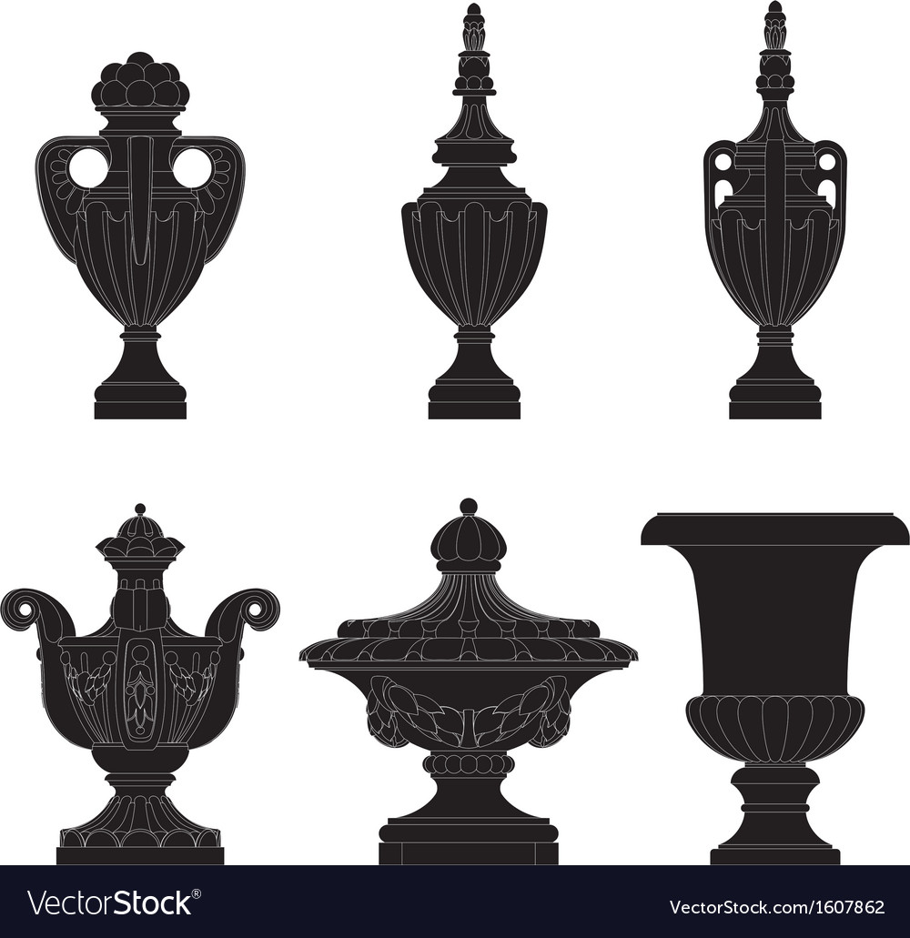 Set of classic urns planters vector | Price: 1 Credit (USD $1)