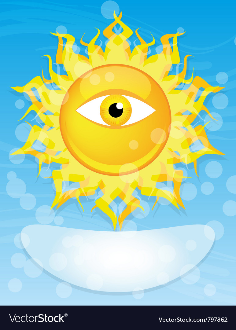 Sun with eye vector | Price: 1 Credit (USD $1)
