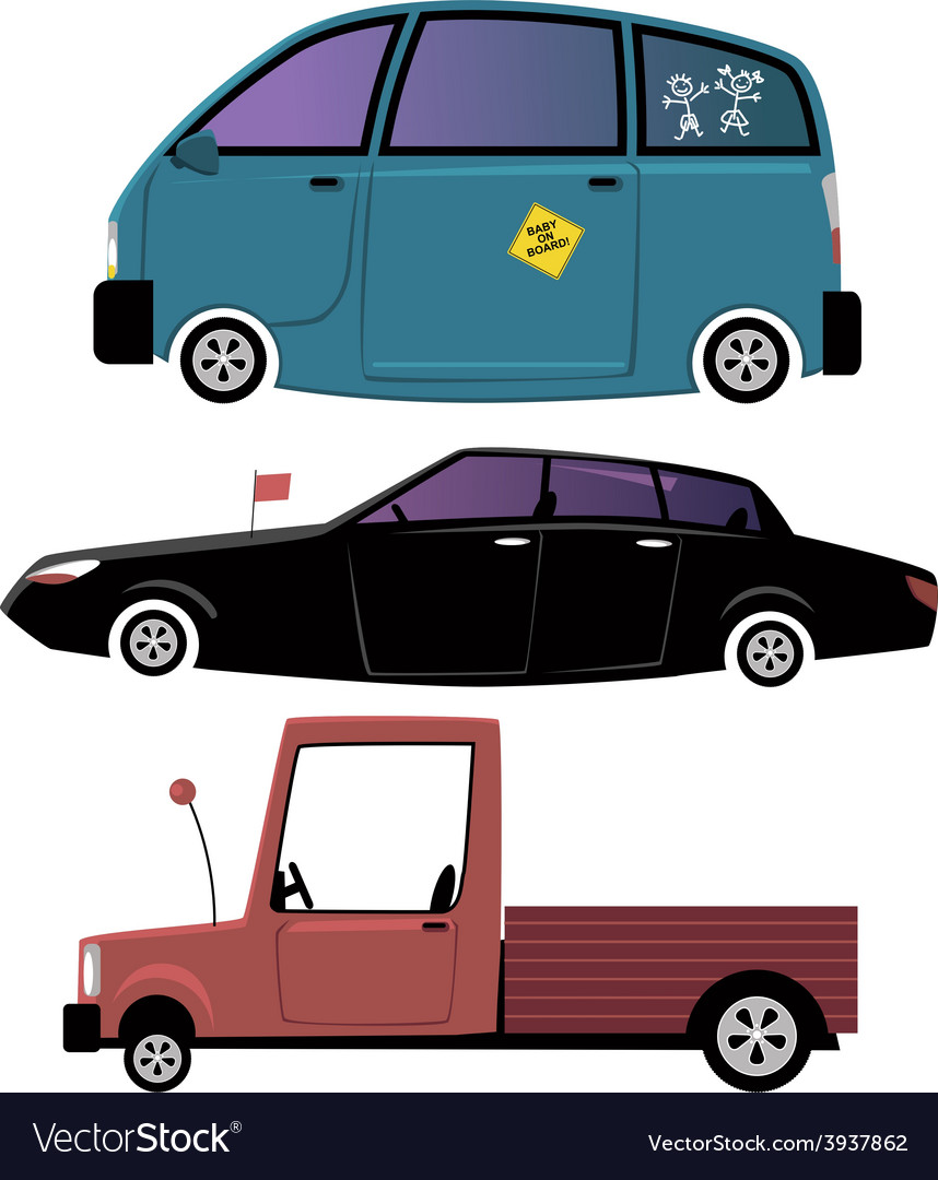 Three cartoon cars vector | Price: 1 Credit (USD $1)