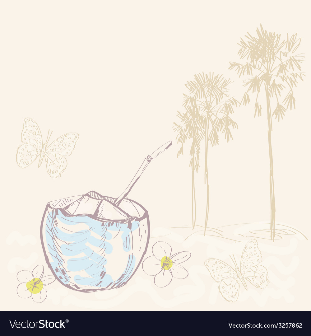 Tropical landscape with palm trees and coconut vector | Price: 1 Credit (USD $1)