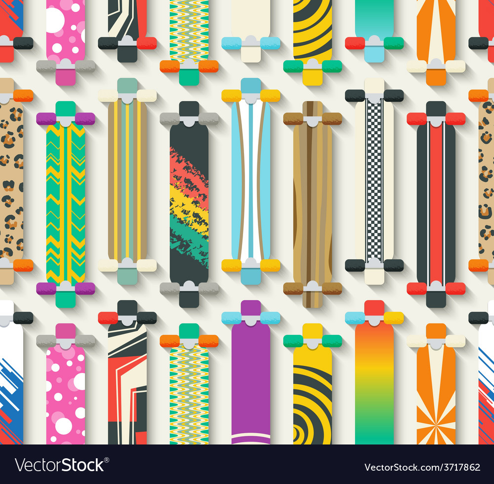 Various longboards seamless pattern vector | Price: 1 Credit (USD $1)