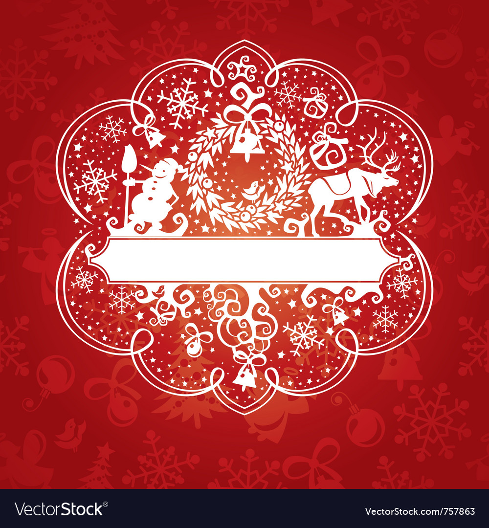 Abstract cute ornate christmas card vector | Price: 3 Credit (USD $3)