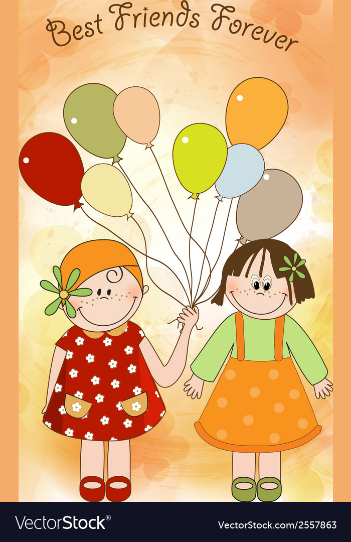Best friends greeting card vector | Price: 1 Credit (USD $1)