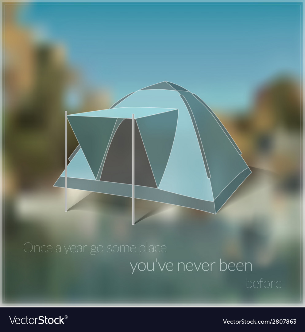 Blurred travelling card with tent image vector | Price: 1 Credit (USD $1)