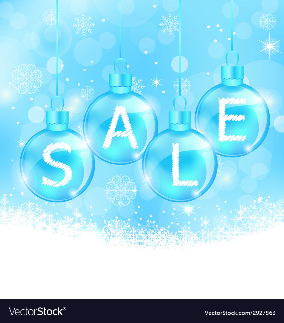Christmas background with balls lettering sale vector | Price: 1 Credit (USD $1)