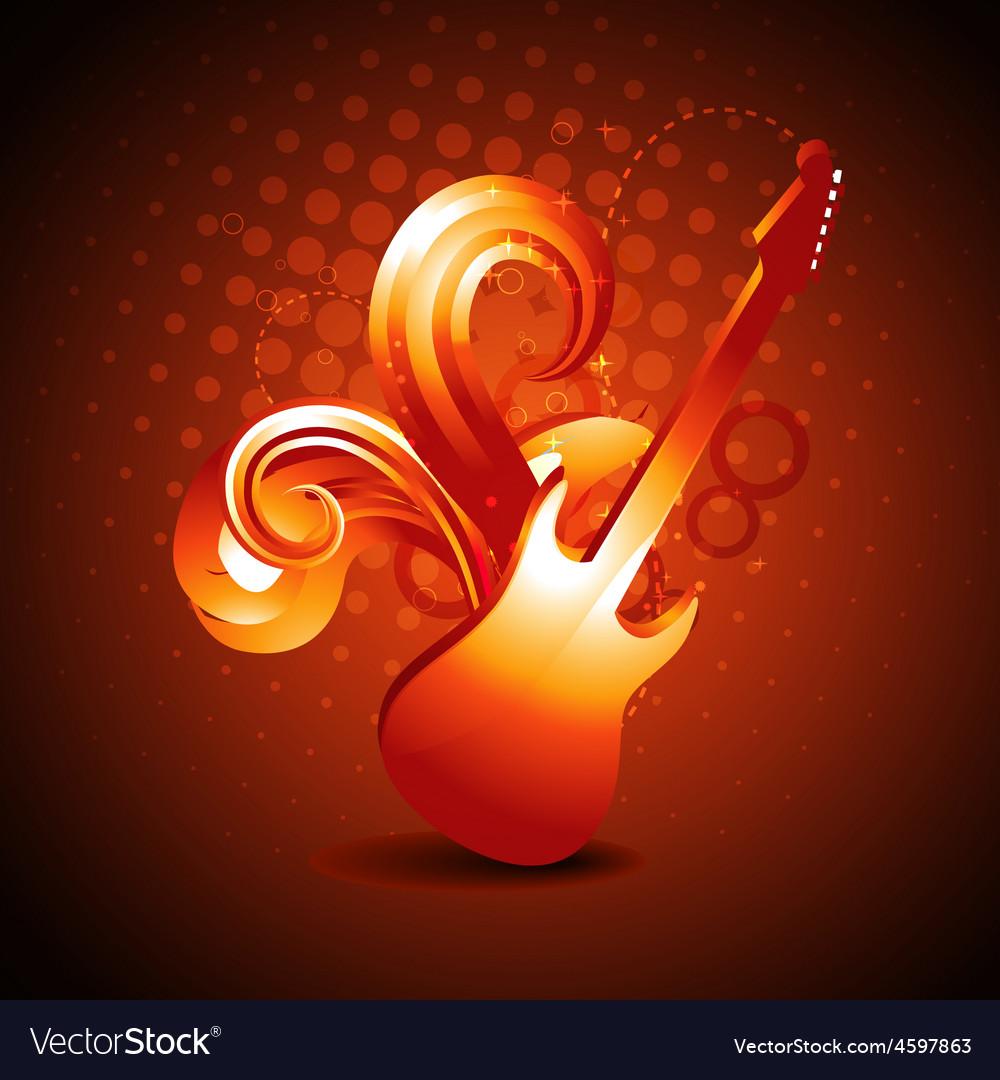 Golden color guitar vector | Price: 1 Credit (USD $1)