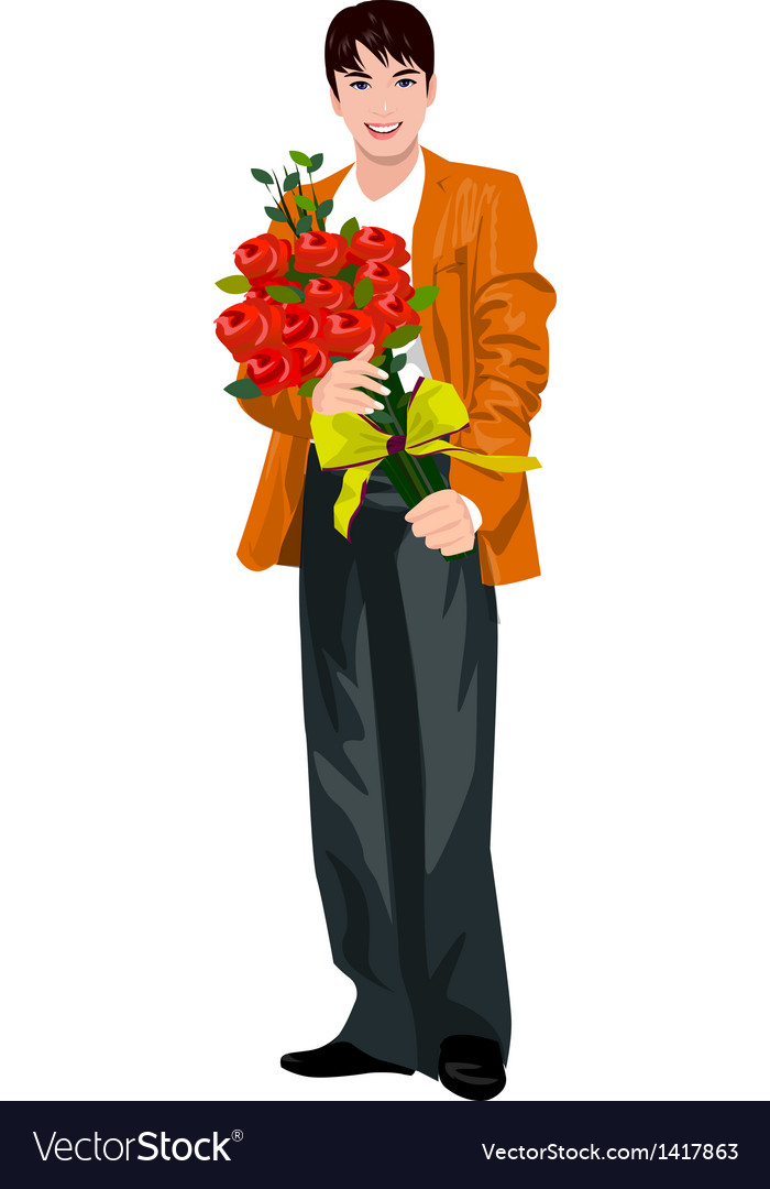Man holding flower bouquet vector | Price: 1 Credit (USD $1)