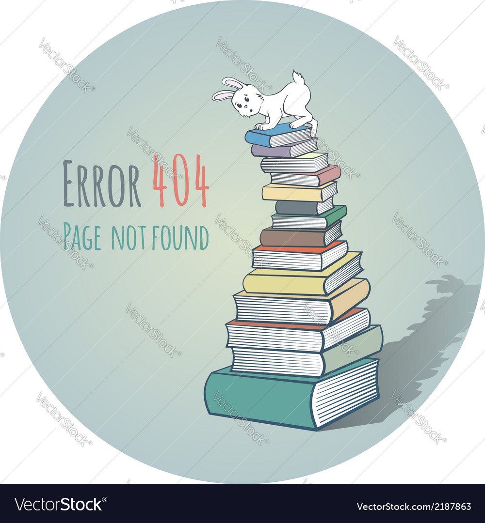 Rabbit on a pile of books - error 404 vector | Price: 1 Credit (USD $1)