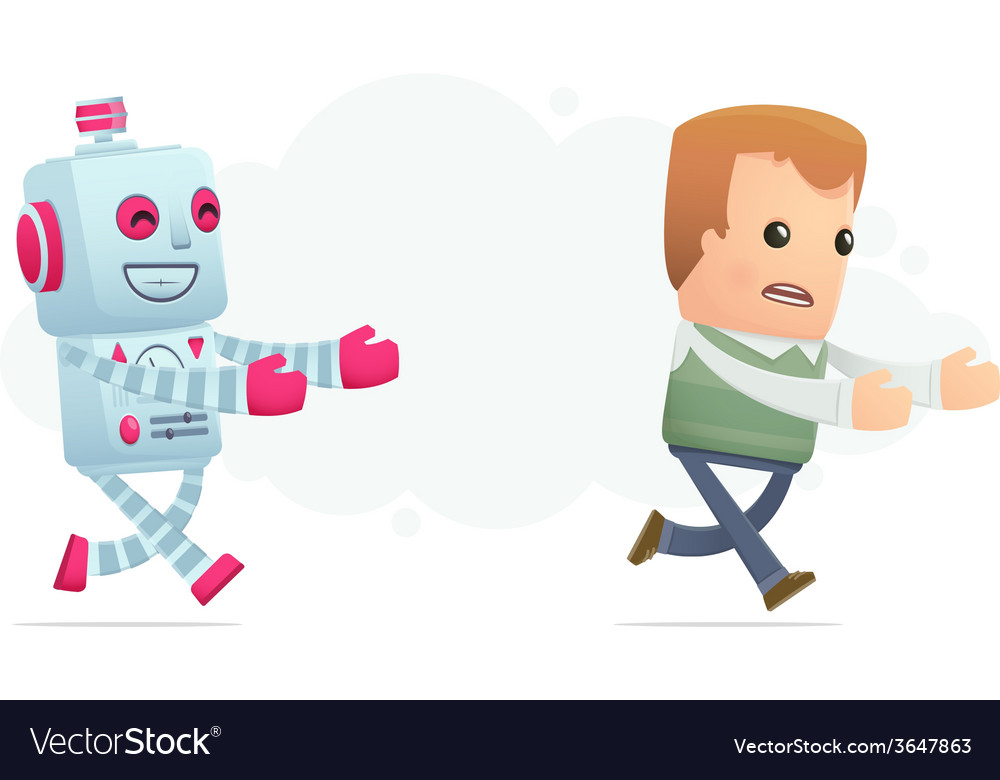 Robot trying to catch up man vector | Price: 1 Credit (USD $1)