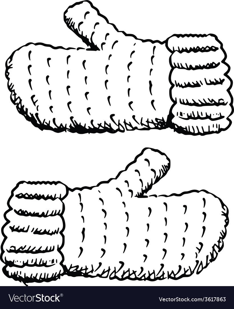 Wool fingerless gloves vector | Price: 1 Credit (USD $1)