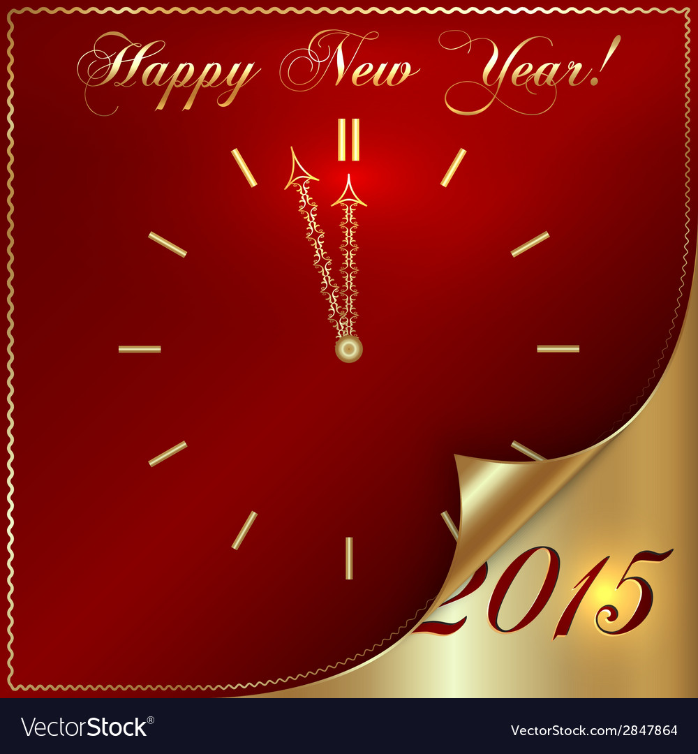 Abstract new year golden clock on dark red vector | Price: 1 Credit (USD $1)