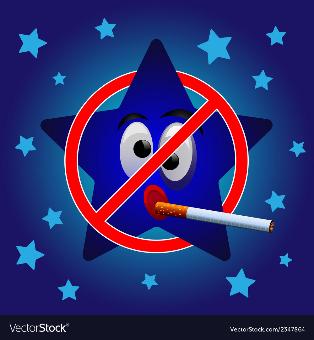 Cartoon star no smoking vector | Price: 1 Credit (USD $1)