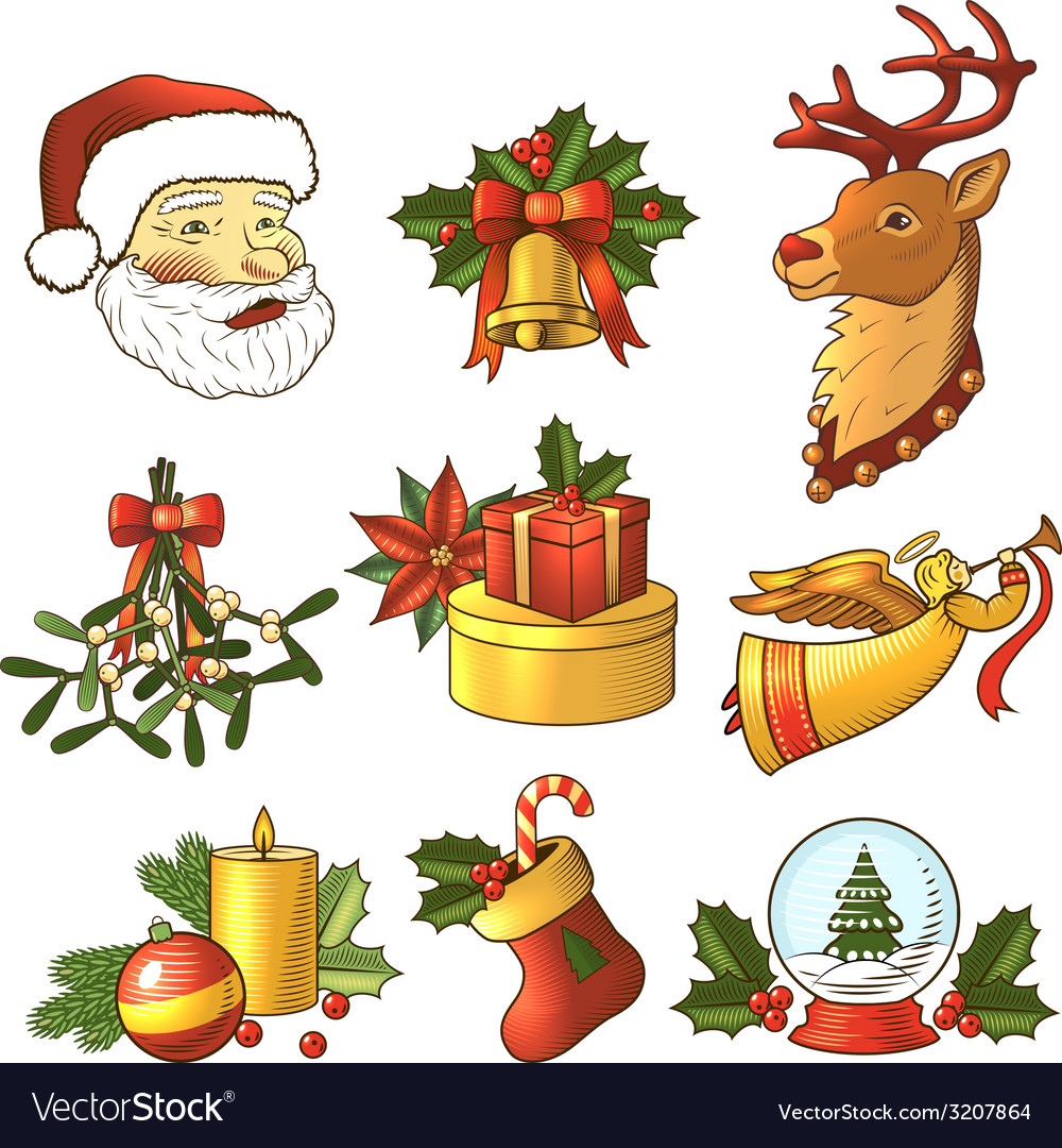 Christmas icons colored set vector | Price: 1 Credit (USD $1)