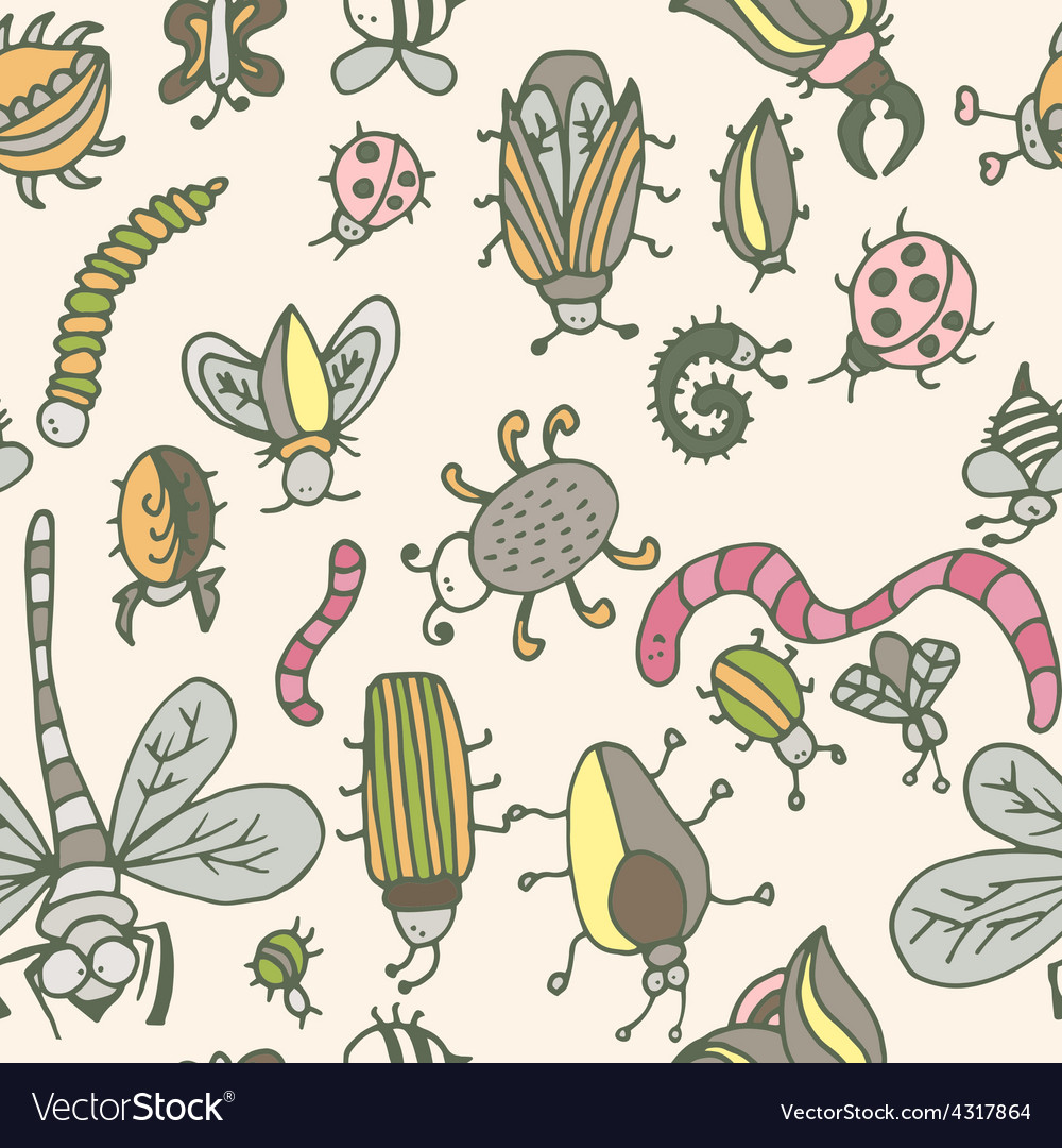 Cute cartoon insect pattern summer concept texture vector | Price: 1 Credit (USD $1)