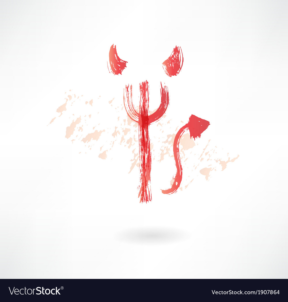 Devil trident grunge icon vector | Price: 1 Credit (USD $1)