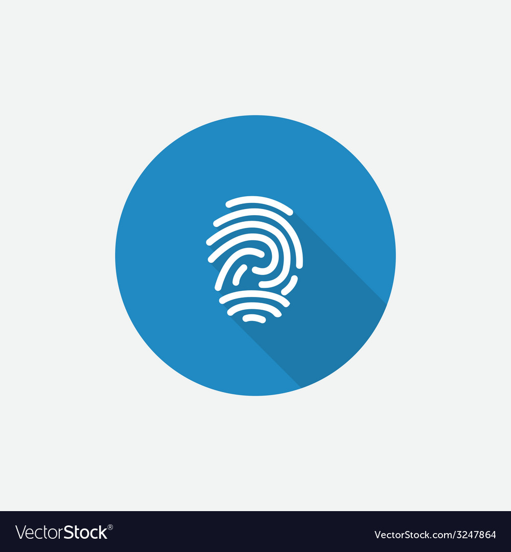 Fingerprint flat blue simple icon with long shadow vector | Price: 1 Credit (USD $1)