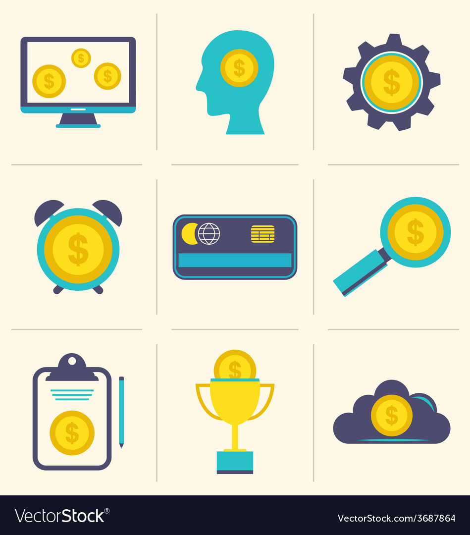 Flat icons of financial and business items - vector | Price: 1 Credit (USD $1)
