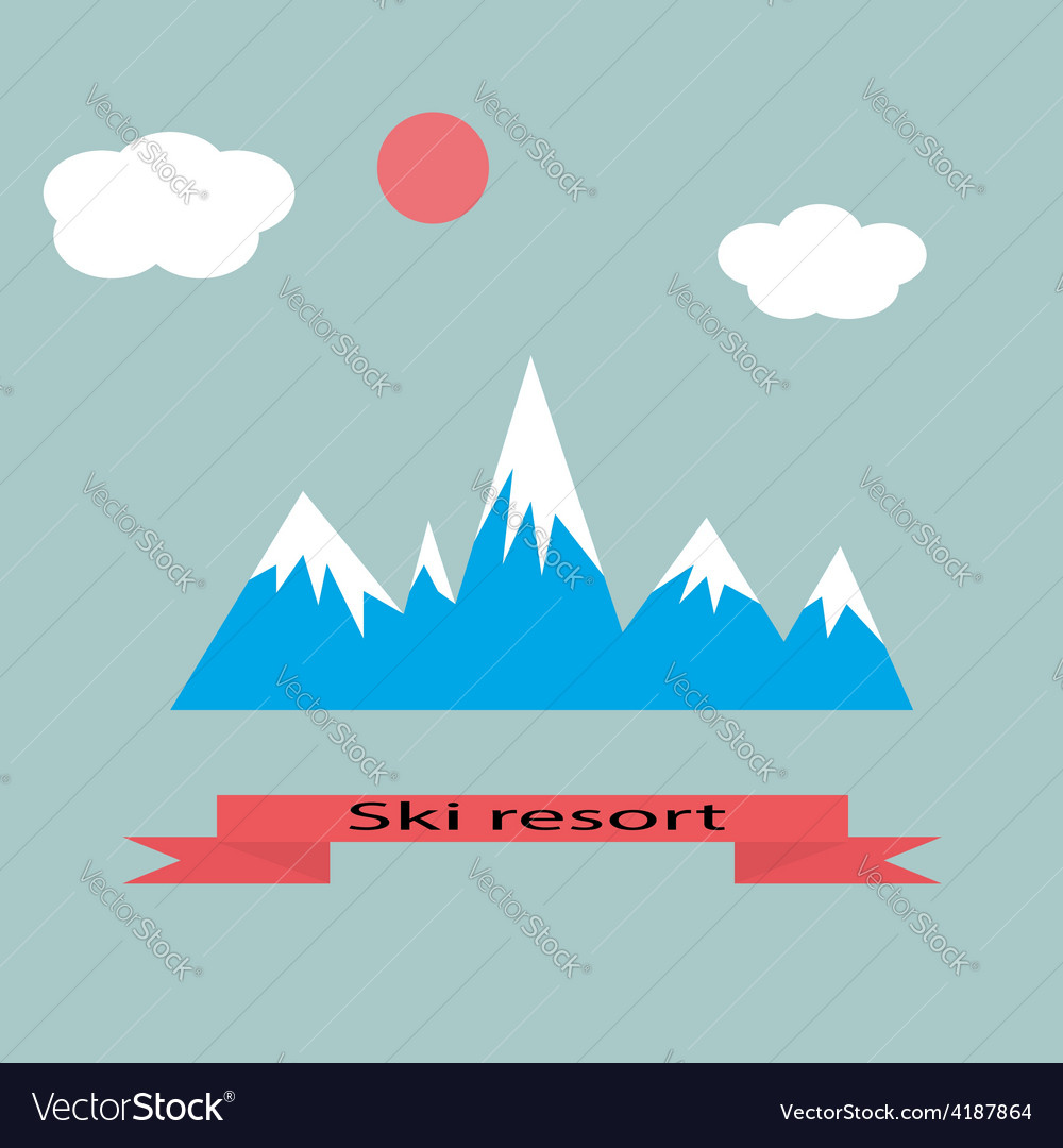 Mountain resort adventure skiing vector | Price: 1 Credit (USD $1)