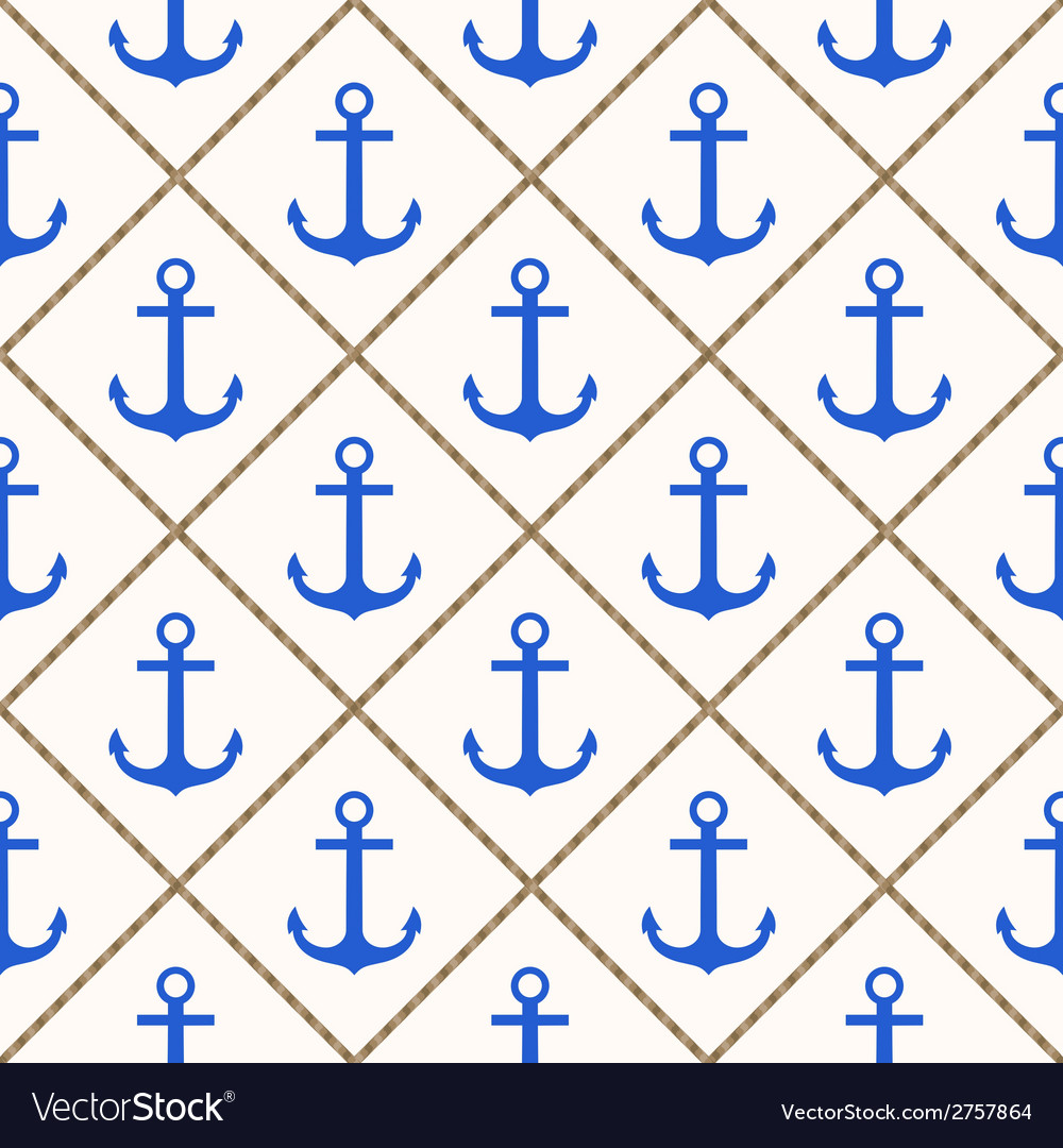 Seamless nautical pattern with blue anchors and ro vector | Price: 1 Credit (USD $1)