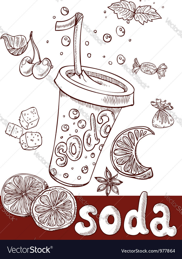 Sweet soda with fruit and sweets vector | Price: 1 Credit (USD $1)
