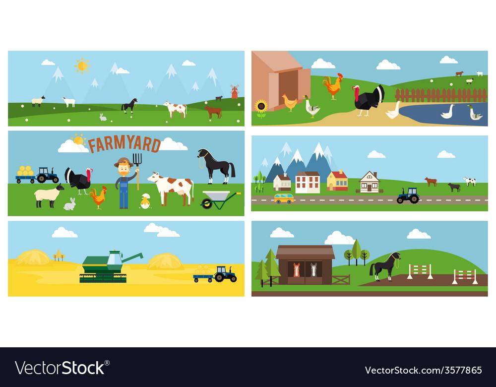 Beautiful farmyard cartoon banners vector | Price: 1 Credit (USD $1)