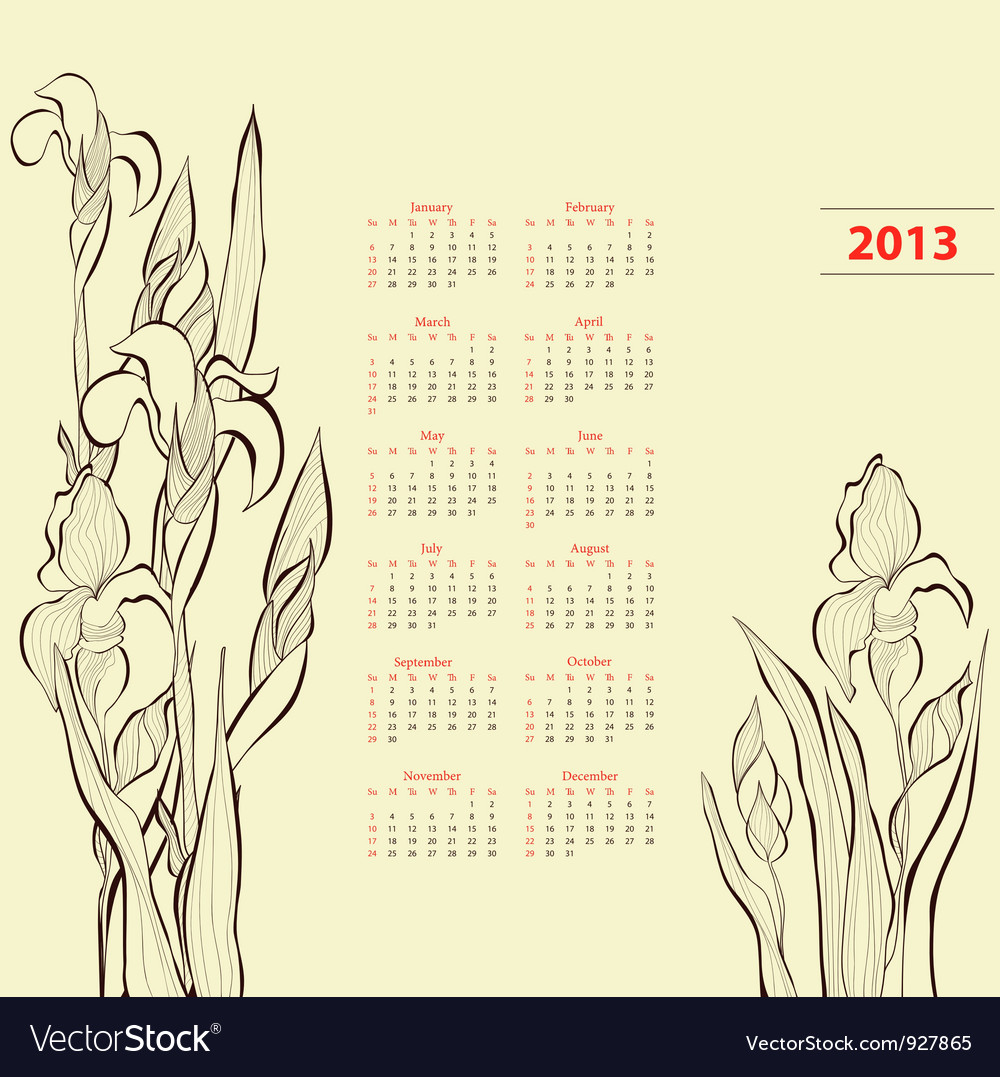 Calendar for 2013 with iris flowers vector | Price: 1 Credit (USD $1)